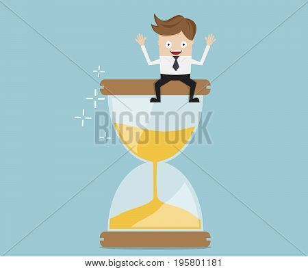 businessman sitting on hourglass business time management concept cartoon vector illustration
