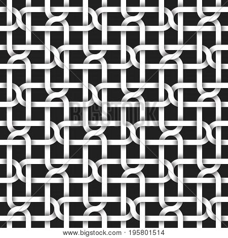Abstract repeatable pattern background of white twisted strips. Swatch of intertwined curved bands. Seamless pattern with volume effect.