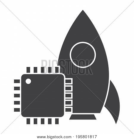 System engineering concept with rocket and cpu, vector silhouette