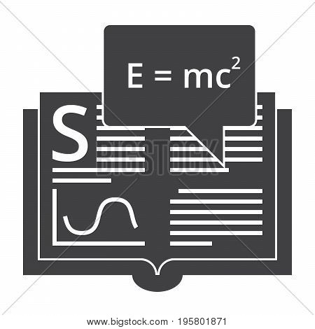 Scientific theory concept with book and formula, vector silhouette