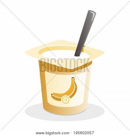 Banana yogurt with spoon inside on white background