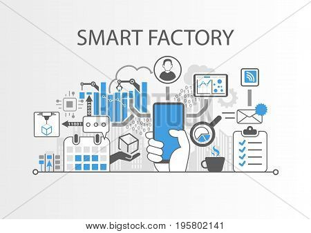 Smart factory or industrial internet of things background vector illustration