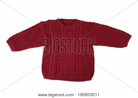 wool childrens Sweater with textured pattern. Isolated on white background. Sweater for children