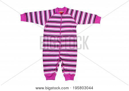 Child bodysuit isolated on white background. Child bodysuit isolated on white background. Pink Striped romper.