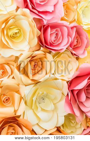 Close up wedding bouquet of yellow and red roses