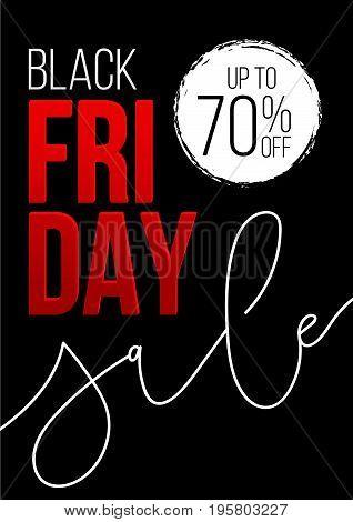 Black friday sale banner.  Vector discount template design. Black Friday sale, advertising, marketing price. Vector illustration.