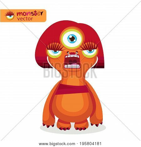 Aggressive Woman. Cartoon Cute Female Monster. Cyclop Monster Girl. Angry Mascot. Vector Illustration On A White Background. Vector For Poster Or Print On Clothes.