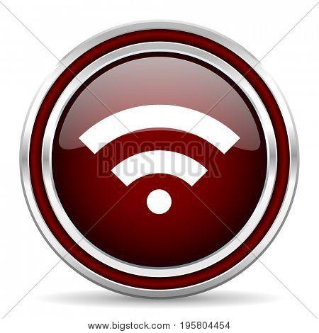 Wireless red glossy icon. Chrome border round web button. Silver metallic pushbutton.