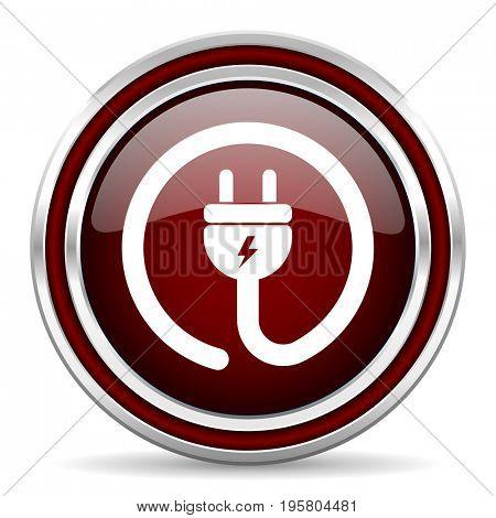 Electric plug red glossy icon. Chrome border round web button. Silver metallic pushbutton.