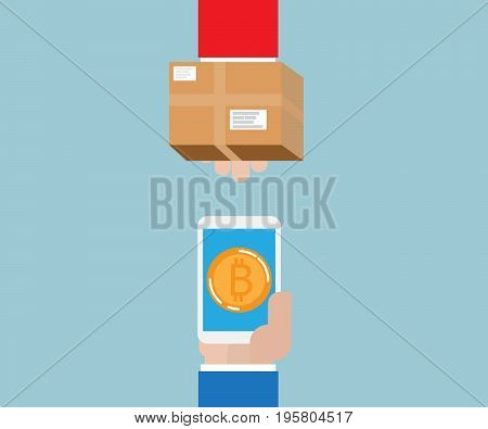human hand exchange and payment with bitcoin concept vector illustration