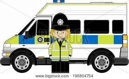 Policewoman & Police Van