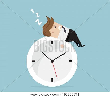 businessman sleeping on clock business time vector illustration