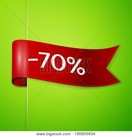 Realistic Red ribbon with text seventy percent for discount on green background. Colorful realistic sticker, banner for sale, shopping, market, business theme. Vector template for your design