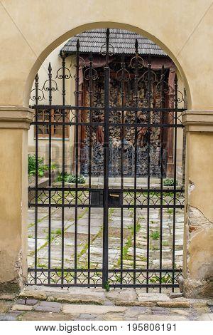 Front view closed doors. Old metal decorative door in Lviv, Ukraine.
