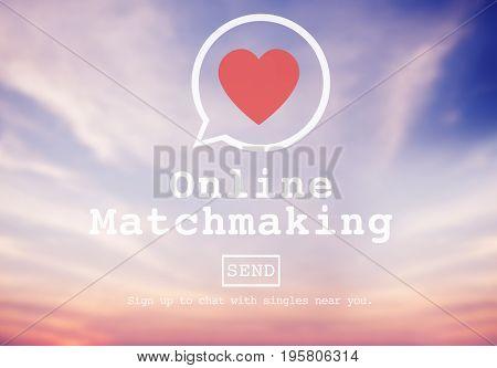 Online Matchmaking heart symbol on sky background