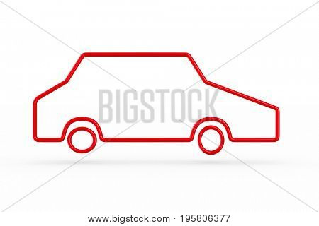 silhouette red car on white background. Isolated 3D illustration