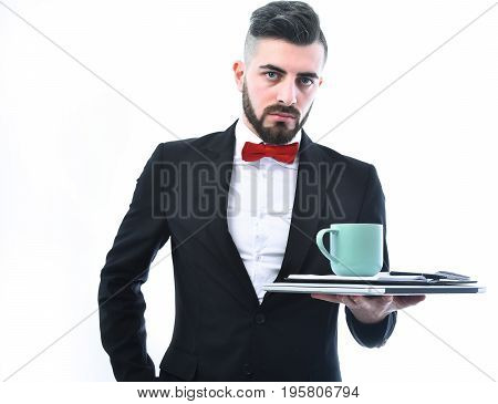 Businessman Or Office Manager With Convincing And Concentrated Face Expression