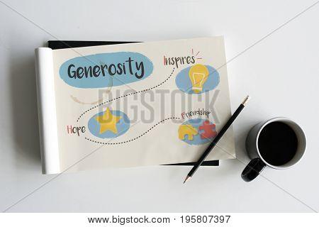 Illustration of generosity donate for charity