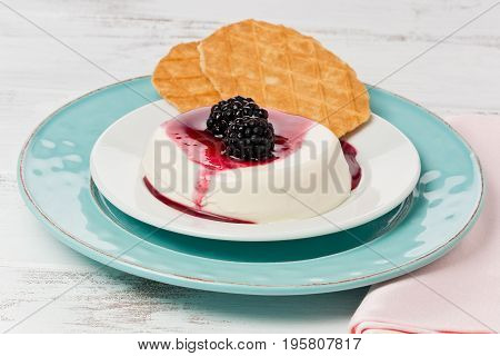 Panna cotta with fresh blackberries and sauce on a plate with cookies on a painted white background.