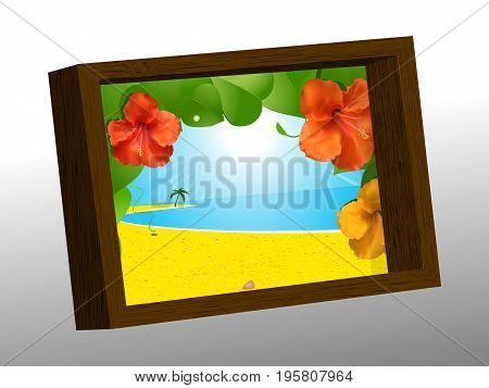 3D Illustration of a Wooden Frame with Summer Picture of Beach and Hibiscus Flowers