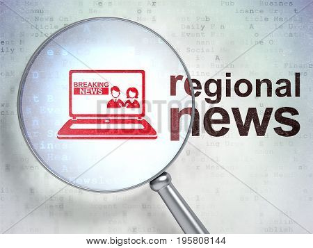 News concept: magnifying optical glass with Breaking News On Laptop icon and Regional News word on digital background, 3D rendering