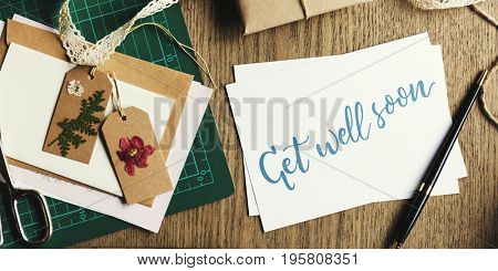 Get Well Soon Card with Gift Box and Dried Flowers Tags
