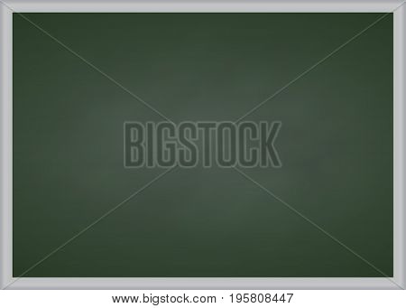 Green chalk board with metal frame Vector illustration