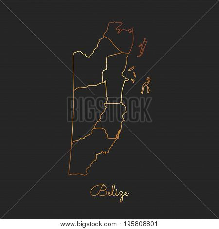 Belize Region Map: Golden Gradient Outline On Dark Background. Detailed Map Of Belize Regions. Vecto