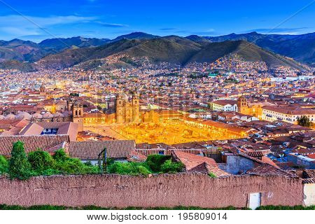 Cusco Peru the historic capital of the Inca Empire. Plaza de Armas at twilight.