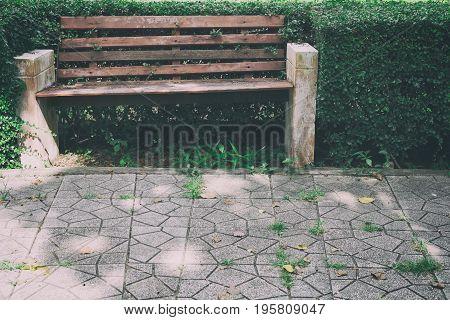 Wood Bench Beside Pathway In Public Park