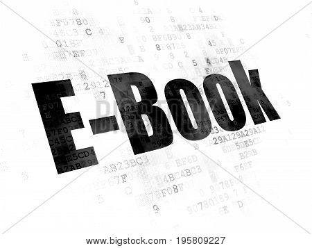 Studying concept: Pixelated black text E-Book on Digital background