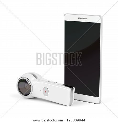 360 degree camera and smartphone with blank display on white background, 3D illustration
