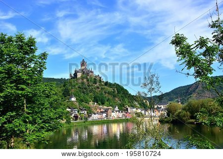 Castle Reichsburg above the German town of Cochem and the Mosel River.