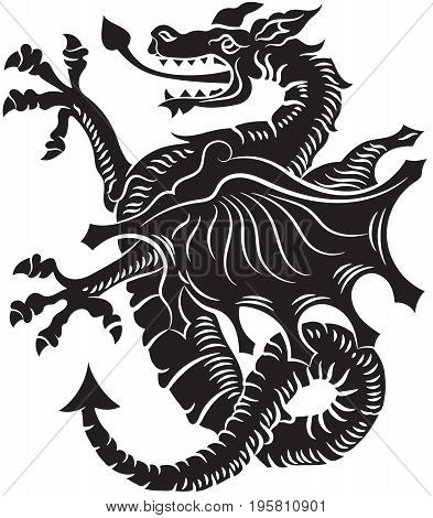Tribal Tattoo Dragon Vector Illustration on white background
