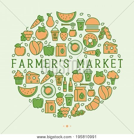 Farmer's market concept in circle with thin line icons: fruits, vegetables, coffee, honey, food. Vector illustration for invitation, banner, announcement.