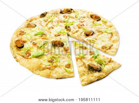 Italian seafood pizza with mussels isolated on white background, thin pastry crust with slice cut, fast food delivery