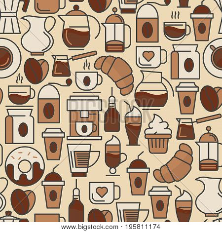 Coffee seamless pattern with thin line icons of equipment for cooking, coffee beans, croissants, cakes for shop, cafe, menu or web site. Vector illustration.