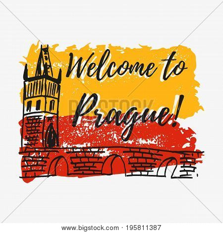 Print with lettering about Prague and paint splashes in shape of Prague flag in yellow red colors also sketch of Charles bridge as one of symbol of Prague. Vector illustration