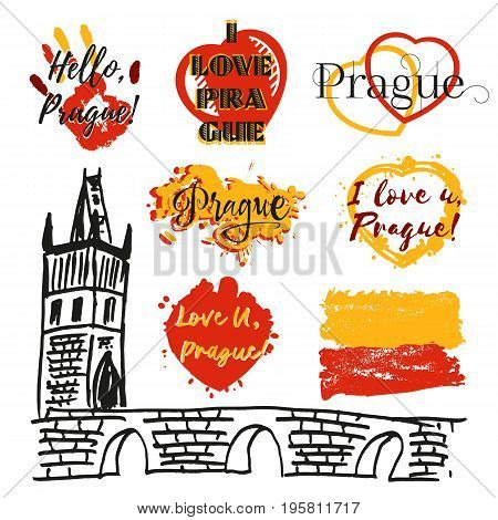Collection of souvenir prints with lettering about Prague in shape of hearts hand and flag from paint splashes in yellow red. Sketch of Charles bridge as one of symbol of Prague. Vector illustration