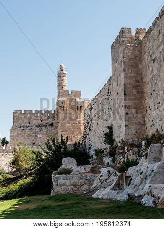 Fragment of the fortress walls of the old tow and the tower of David in Jerusalem