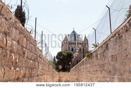 Passage along the narrow street Ma'ale HaShalom to the Dormition abbey in old tow in Jerusalem