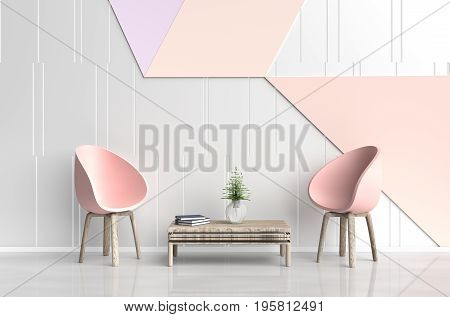 White-orange room are decorated with pink-orange chair, tree in glass vase, white pillows, Blue book, white and orange cement wall it is grid pattern and the white cement floor. 3d render.