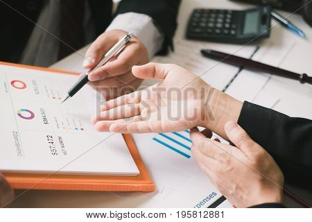 good teamwork meeting in office workplace strategy Looking for direction and inspiration Business working at an office Office desk table with computer