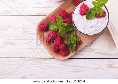 Raspberries Chia Pudding And Fruit Smoothie With Mint