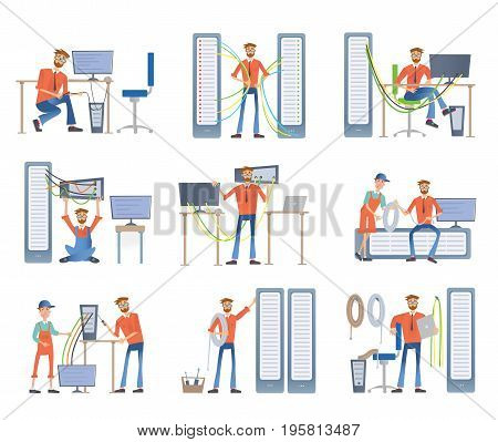 young men are engaged in repair and maintenance of servers and computers. System administrators. Vector illustration set, isolated on white background.