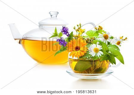 Cup of herbal tea isolated on white background