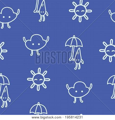 Kids drawn weather seamless pattern with sun cloud and raindrop with umbrella. Vector cartoon art line background for web and textile or fabric design.