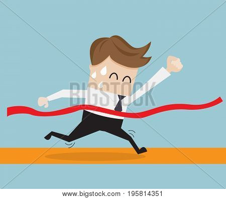 businessman in finish line business success concept vector illustration