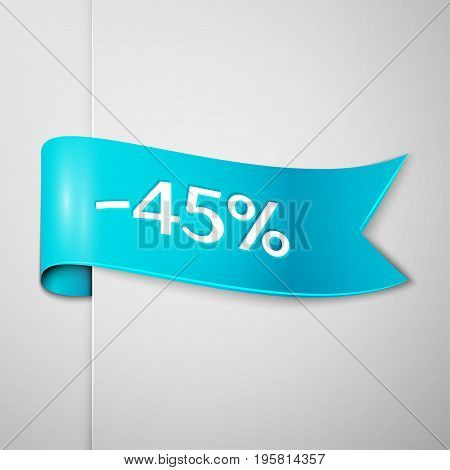 Realistic Cyan ribbon with text forty five percent for discount on grey background. Colorful realistic sticker, banner for sale, shopping, market, business theme. Vector template for your design