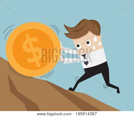 businessman pushing big coin up hill business concept vector illustration